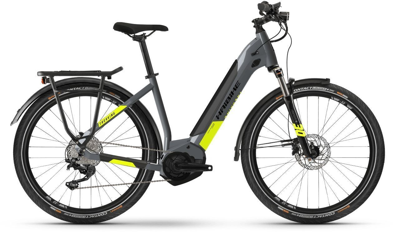 bici elettrica da donna HAIBIKE Trekking 6 cambio a 10 marce grigio freddo / rosso