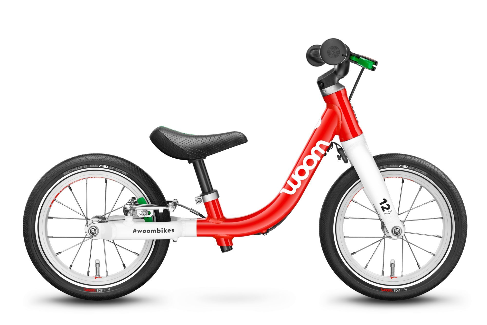 Woom 1, 1 marcia, bicicletta senza pedali per bambini, Wave, modello 2021, 12 pollici woom rosso