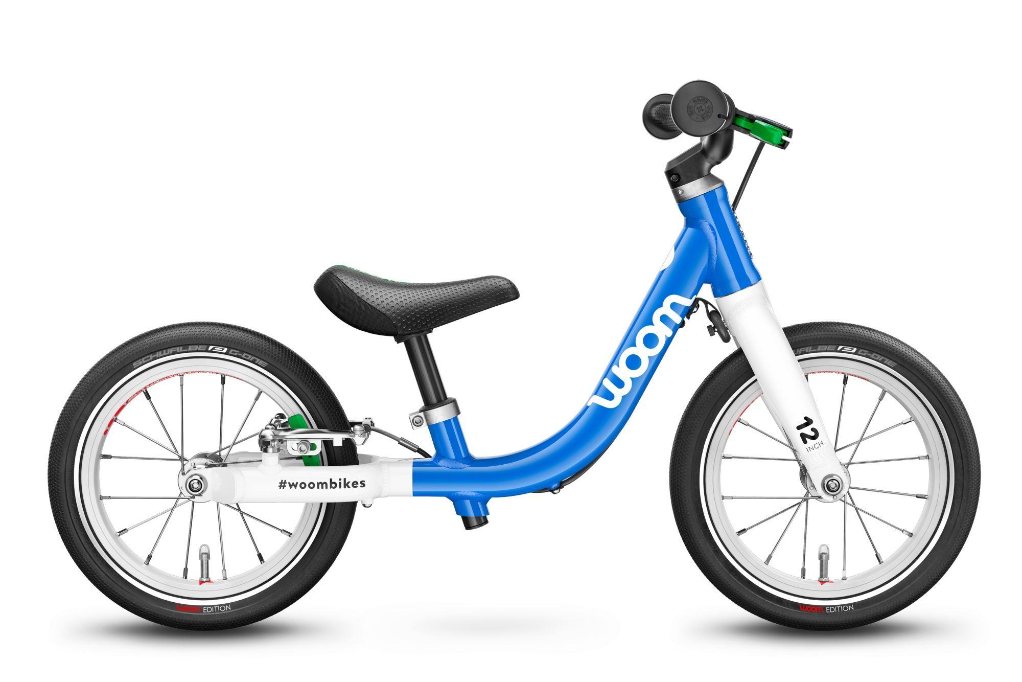 Woom 1, 1 marcia, bicicletta senza pedali per bambini, Wave, modello 2021, 12 pollici cielo blu