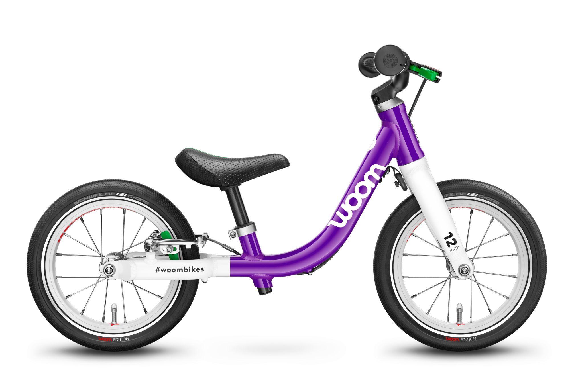 Woom 1, 1 marcia, bicicletta senza pedali per bambini, Wave, modello 2021, 12 pollici foschia viola